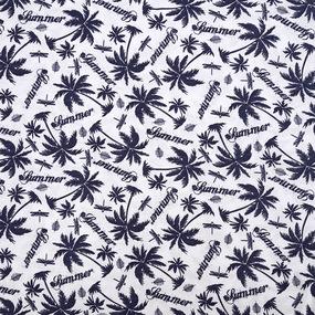 Ткань на отрез кулирка R1375-V1 Пальма на белом фото