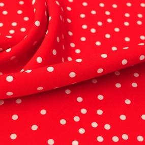Ткань на отрез штапель 150 см 2445 Горох цвет красный фото