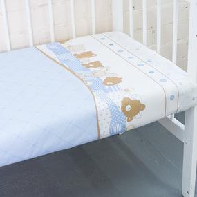 Простынь бязь детская 8078 Спящие мишки голубой 110/150 см фото