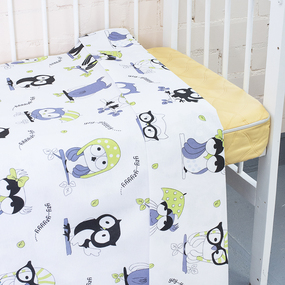 Пододеяльник бязь 120 гр/м2 детский 8122 Совы цвет белый 145/110 см фото