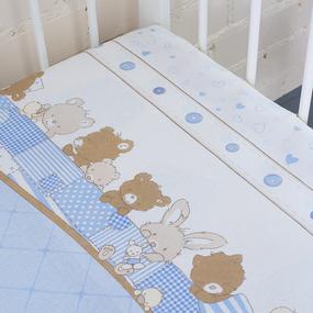 Пододеяльник бязь 120 гр/м2 детский 8078 Спящие мишки голубой 145/110 см фото