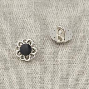 Пуговица металл ПМ120 11мм серебро черная эмаль цветок уп 12 шт фото