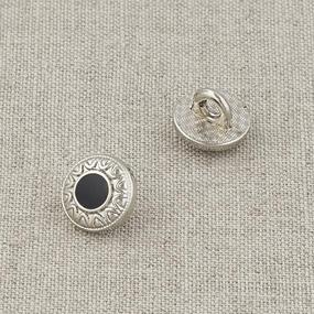 Пуговица металл ПМ121 10мм серебро черная эмаль узор уп 12 шт фото
