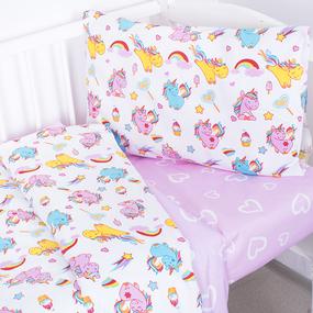 Постельное белье в детскую кроватку из поплина 1836+395/2 с простыней на резинке фото