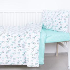 Постельное белье в детскую кроватку из поплина 1956/1+388/16 с простыней на резинке фото