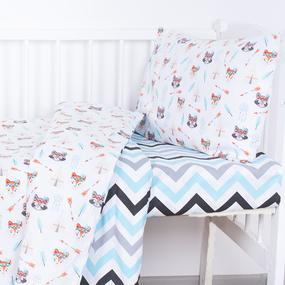 Постельное белье в детскую кроватку 1976/1+1797/2 поплин с простыней на резинке фото