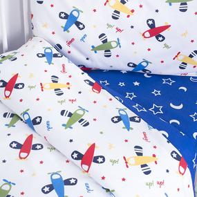 Постельное белье в детскую кроватку из поплина 2014+394/21 с простыней на резинке фото