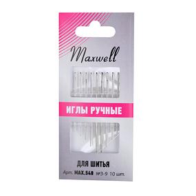 Иглы Maxwell арт.MAX.548 для шитья вышивания и рукоделия №3-9 уп.10 игл фото