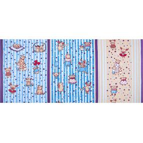 Вафельное полотно набивное 150 см 1089/2 Звездная семья цвет бежевый фото