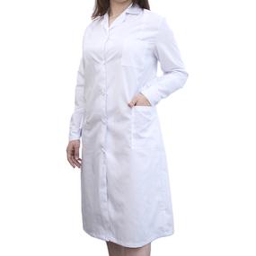 Халат женский классический рукав длинный ТиСи белая 40-42 рост 158-164 фото
