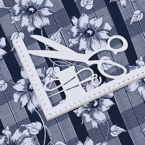 Ткань на отрез кулирка R1360-V1 Цветы на клетке фото