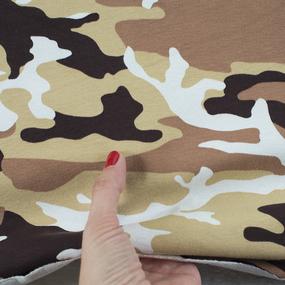 Ткань на отрез кулирка Камуфляж R4015-V36 цвет коричневый фото