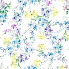 Ткань на отрез Тик 150 см 170 гр/м2 5462-1 Цветы на белом фото