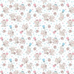Ткань на отрез фланель 90 см 5568/1 Слоники фото