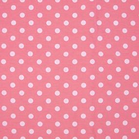 Ткань на отрез кулирка 1013 Горох на персиковом фото