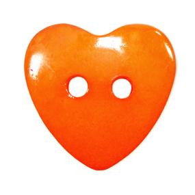 Пуговица детская на два прокола Сердце 14 мм цвет оранжевый упаковка 24 шт фото