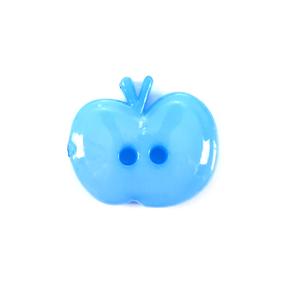 Пуговица детская на два прокола Яблоко 15 мм цвет голубой упаковка 24 шт фото