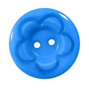 Пуговица детская на два прокола кругл Цветок 18 мм цвет голубой упаковка 24 шт фото