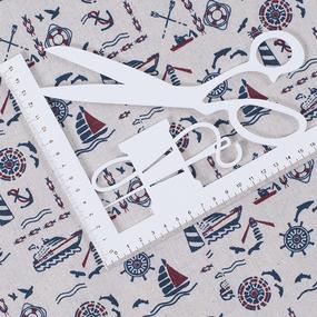 Ткань на отрез лен TBY-DJ-02 Морской на бежевом фото