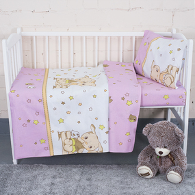 Постельное белье в детскую кроватку 8071/3 Друзья цвет розовый фото