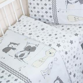 Постельное белье в детскую кроватку 8086/1 Лесные друзья серый фото
