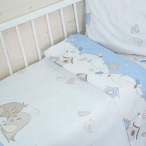 Постельное белье в детскую кроватку 8077 Птенчики цвет голубой фото
