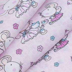 Ткань на отрез поплин 150 см 1953 Мышки-балерины цвет персиковый фото
