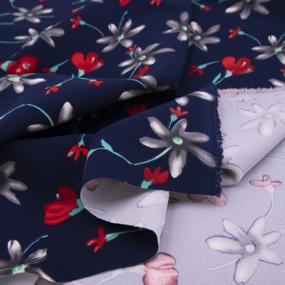 Ткань на отрез барби Цветы на синем фото