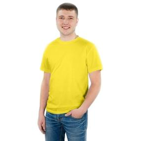 Мужская однотонная футболка цвет желтый 48 фото
