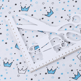 Ткань на отрез кулирка Короны на белом 2298-V2 фото