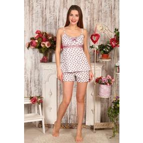 Пижама Царица шорты сердечки на молочном Б16 р 56 фото