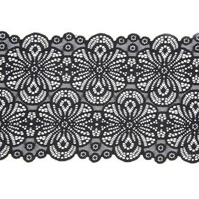 Кружево эластичное 18,5см черный 2276 1м фото