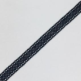 Кружево лен 2193 черный 1см 1 метр фото