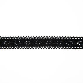 Кружево лен 2194 черный 1,6см 1 метр фото