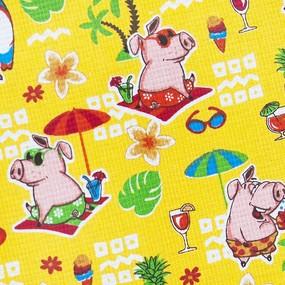 Ткань на отрез вафельное полотно набивное 150 см 7706/3 Свинки на пляже цвет желтый фото