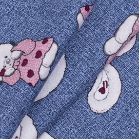 Ткань на отрез кулирка карде Зайцы R8044-V3 цвет синий фото