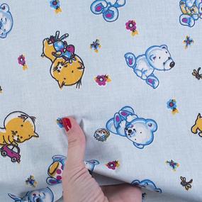 Ткань на отрез бязь 120 гр/м2 детская 150 см 116/3 Ми-мишки гоубой фото