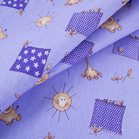 Ткань на отрез бязь 120 гр/м2 детская 150 см 366/5 Жирафики цвет фиолетовый фото