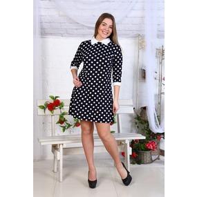 Платье Диана рукав 3/4 горох+белый воротник Д445 р 44 фото