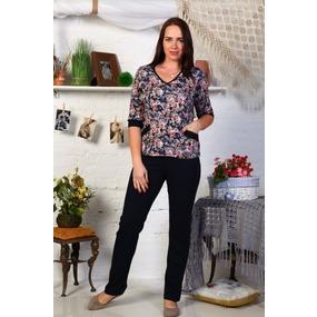 Костюм интерлок с брюками длинный рукав нежно розовые цветы Г6 р 50 фото