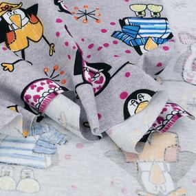 Ткань на отрез кулирка R11089-V1 Веселые пингвины фото