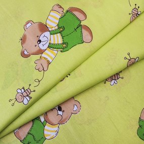 Ткань на отрез бязь ГОСТ детская 150 см 1332/2 За медом цвет салатовый фото