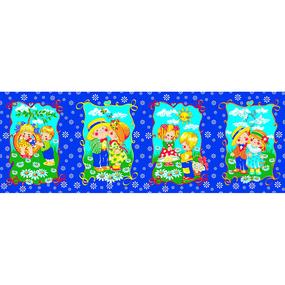 Вафельное полотно набивное 180 см 418/1 Девочки и мальчики цвет синий фото