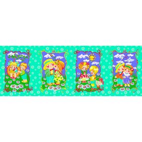 Вафельное полотно набивное 180 см 418/7 Девочки и мальчики цвет изумруд фото