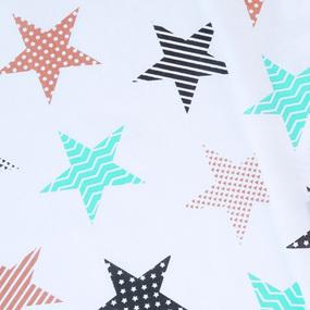 Ткань на отрез бязь плательная 150 см 8104/3 Звезды пэчворк цвет бирюза фото