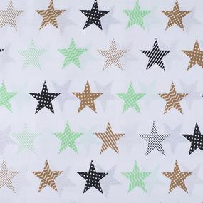 Ткань на отрез бязь плательная 150 см 8104/4 Звезды пэчворк цвет салатовый фото