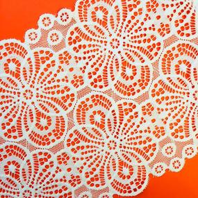 Кружево эластичное 18,5см белый 2276 1м фото