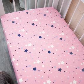 Простыня на резинке бязь детская 0421/2 цвет розовый 60/120/12 см фото