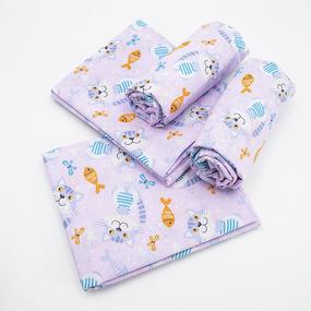 Набор детских пеленок ситец 4 шт 95/120 см 9806/4 Котики фото