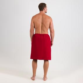 Набор для сауны вафельный Премиум мужской 2 предмета (килт шир.резинкой+полотенце) цвет 066 бордо фото